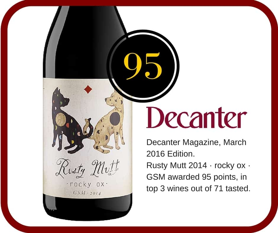 Decanter magazine award 95 points Rocky Ox GSM