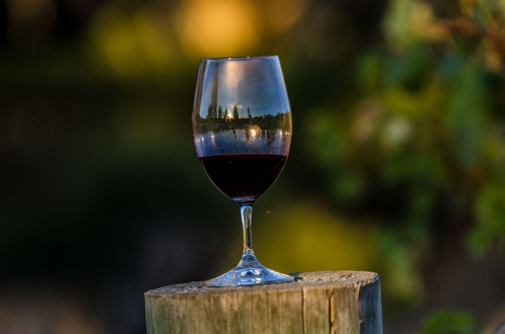 Glass of wine sitting on a vineyard post for Wine Club page